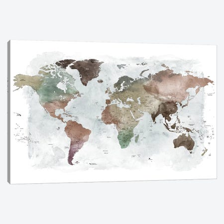 World Map Detailed I Canvas Print #APV126} by ArtPrintsVicky Art Print