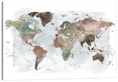 World Map Detailed I Canvas Art Print