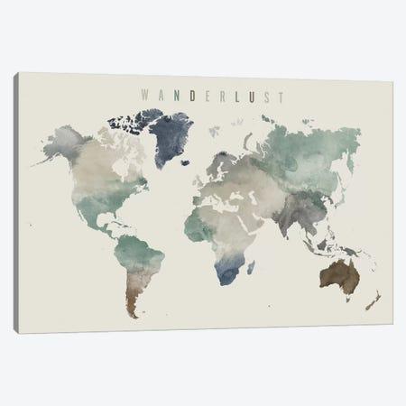 World Map Wanderlust III Canvas Print #APV127} by ArtPrintsVicky Canvas Print