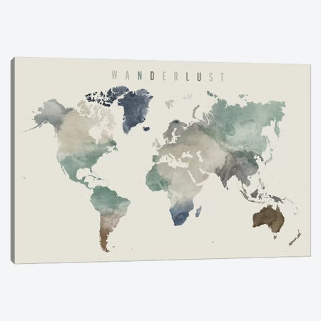 World Map Wanderlust III Canvas Print #APV127} by ArtPrintsVicky Canvas Print