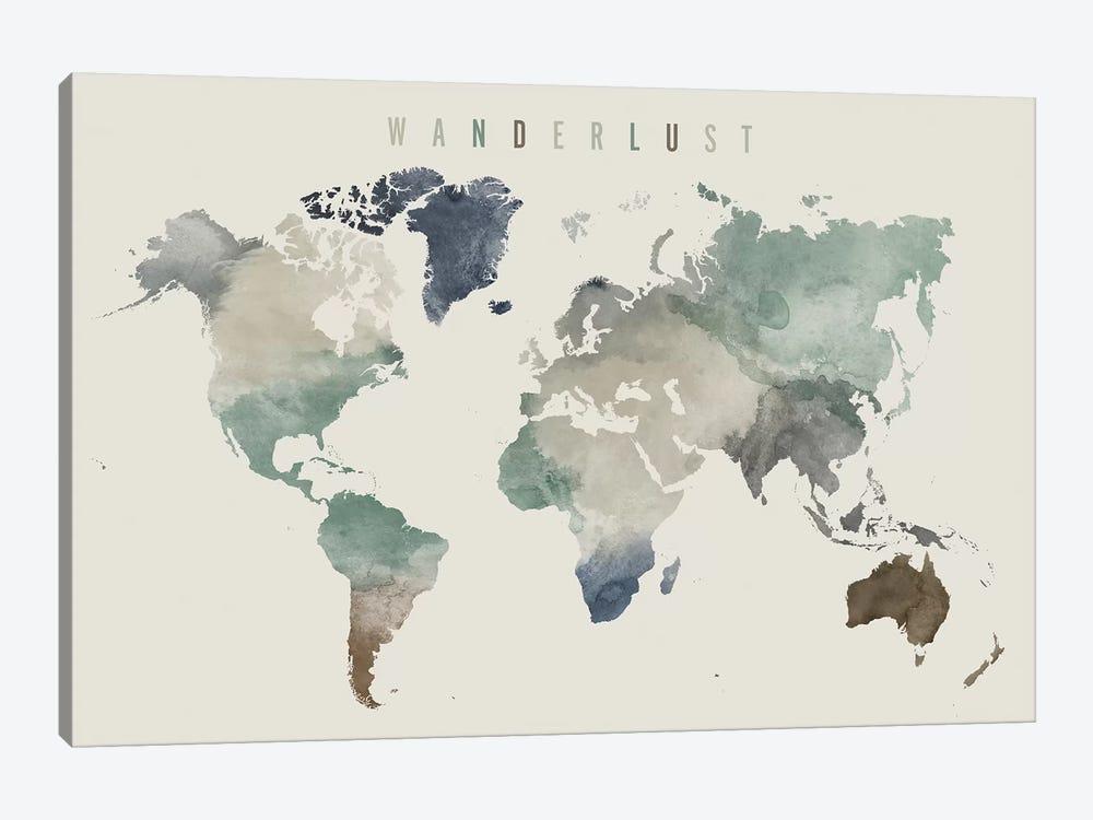World Map Wanderlust III by ArtPrintsVicky 1-piece Canvas Art