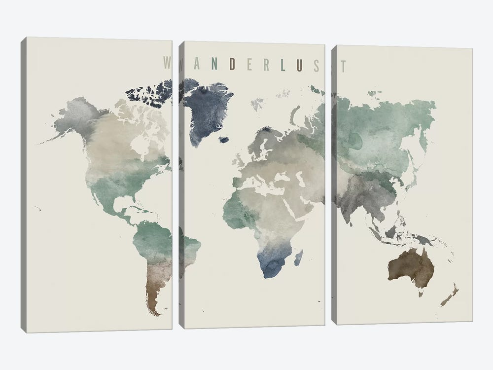 World Map Wanderlust III by ArtPrintsVicky 3-piece Canvas Wall Art