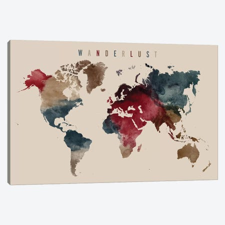 World Map Wanderlust IV Canvas Print #APV128} by ArtPrintsVicky Canvas Artwork