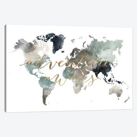 World Map Adventure Awaits II Canvas Print #APV129} by ArtPrintsVicky Canvas Art
