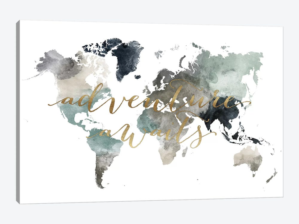 World Map Adventure Awaits II by ArtPrintsVicky 1-piece Canvas Artwork