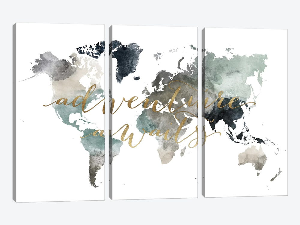 World Map Adventure Awaits II by ArtPrintsVicky 3-piece Canvas Wall Art