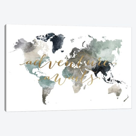 World Map Adventure Awaits II Canvas Print #APV129} by ArtPrintsVicky Canvas Art