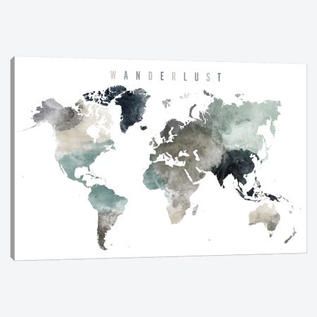 World Map Wanderlust V Canvas Print #APV130} by ArtPrintsVicky Art Print