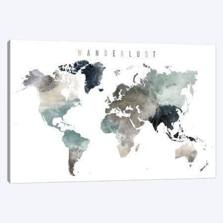 World Map Wanderlust V Canvas Print #APV130} by ArtPrintsVicky Art Print