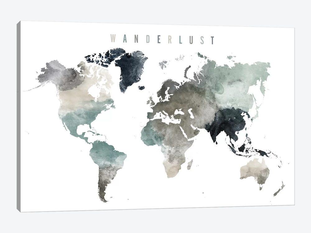 World Map Wanderlust V by ArtPrintsVicky 1-piece Canvas Artwork