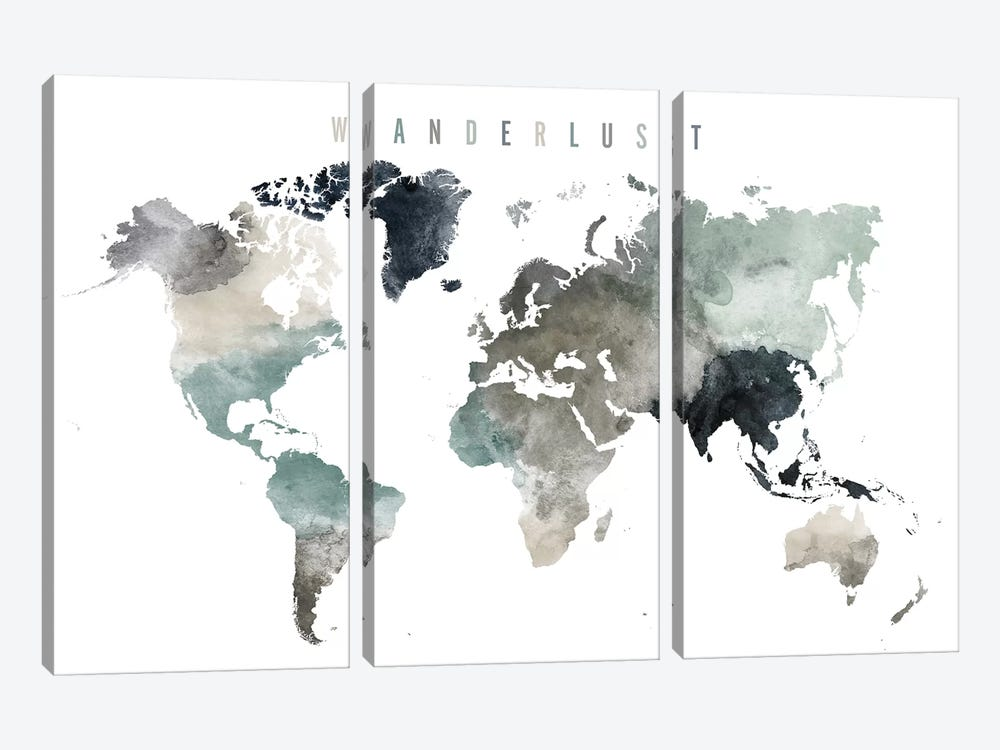 World Map Wanderlust V by ArtPrintsVicky 3-piece Canvas Art