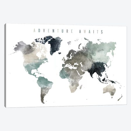 World Map Adventure Awaits III Canvas Print #APV131} by ArtPrintsVicky Art Print