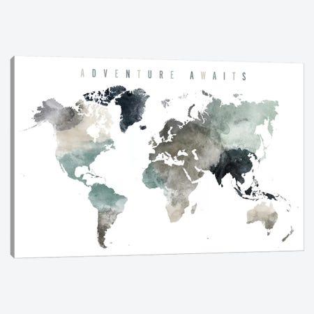 World Map Adventure Awaits III Canvas Print #APV131} by ArtPrintsVicky Art Print