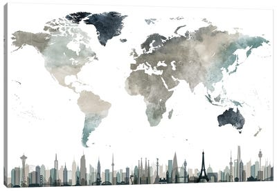 World Map Cities II Canvas Art Print