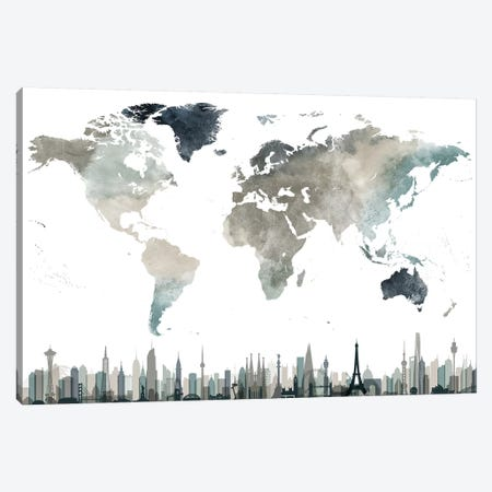 World Map Cities II 3-Piece Canvas #APV132} by ArtPrintsVicky Canvas Art Print