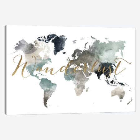 World Map Wanderlust VI Canvas Print #APV133} by ArtPrintsVicky Art Print