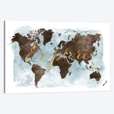 World Map Explore Canvas Print #APV134} by ArtPrintsVicky Canvas Art