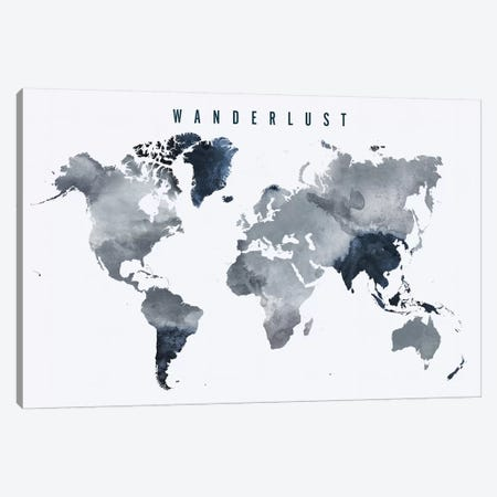 World Map Wanderlust VII Canvas Print #APV135} by ArtPrintsVicky Canvas Artwork