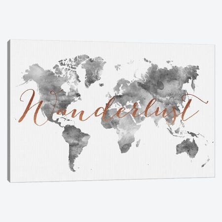 World Map Wanderlust VIII Canvas Print #APV136} by ArtPrintsVicky Canvas Wall Art