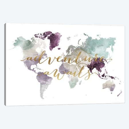 World Map Adventure Awaits IV Canvas Print #APV137} by ArtPrintsVicky Canvas Wall Art
