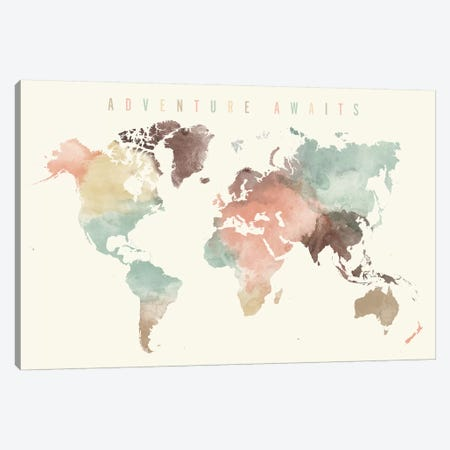 World Map Adventure Awaits V Canvas Print #APV138} by ArtPrintsVicky Canvas Print