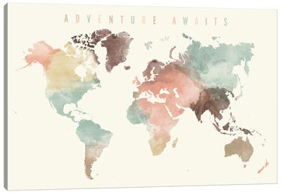 World Map Adventure Awaits V Canvas Art Print