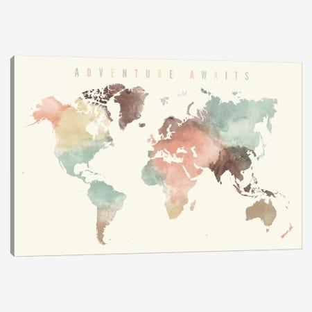 World Map Adventure Awaits V Canvas Print #APV138} by ArtPrintsVicky Canvas Print