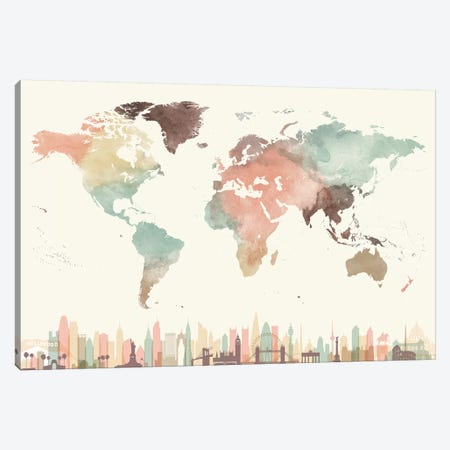 World Map Cities I Canvas Print #APV139} by ArtPrintsVicky Art Print