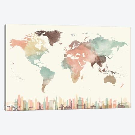 World Map Cities I Canvas Print #APV139} by ArtPrintsVicky Art Print