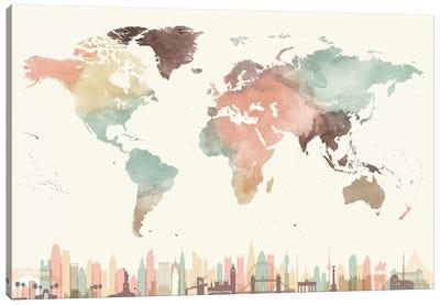 World Map Cities I Canvas Art Print