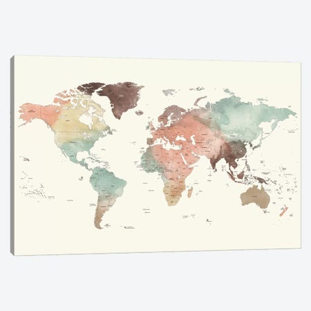 World Map Detailed II Canvas Print #APV140} by ArtPrintsVicky Canvas Artwork