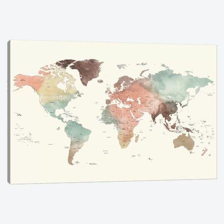 World Map Detailed II Canvas Print #APV140} by ArtPrintsVicky Canvas Artwork