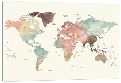 World Map Detailed II Canvas Art Print