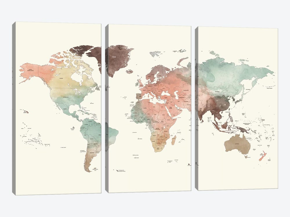 World Map Detailed II by ArtPrintsVicky 3-piece Art Print