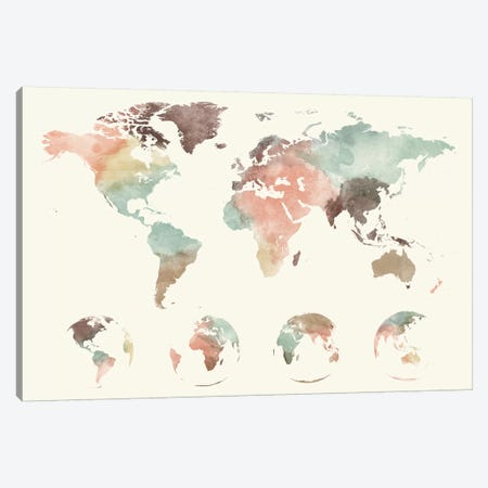 World Map Globes Canvas Print #APV141} by ArtPrintsVicky Canvas Artwork
