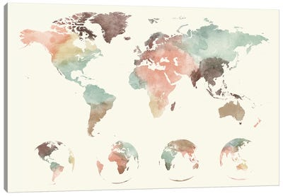 World Map Globes Canvas Art Print