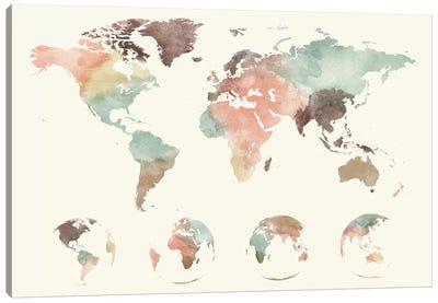 World Map Globes Canvas Art Print