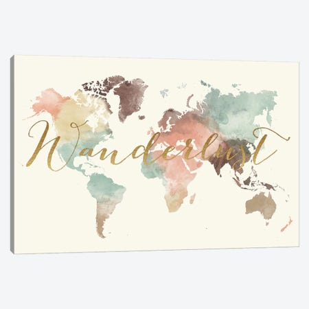 World Map Wanderlust IX Canvas Print #APV142} by ArtPrintsVicky Canvas Wall Art