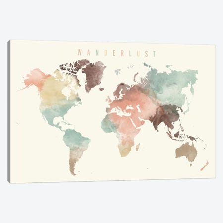 World Map Wanderlust X Canvas Print #APV143} by ArtPrintsVicky Canvas Artwork