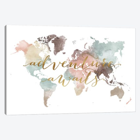World Map Adventure Awaits VII Canvas Print #APV144} by ArtPrintsVicky Canvas Art Print