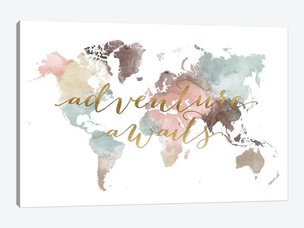 World Map Adventure Awaits VII by ArtPrintsVicky 1-piece Canvas Art Print