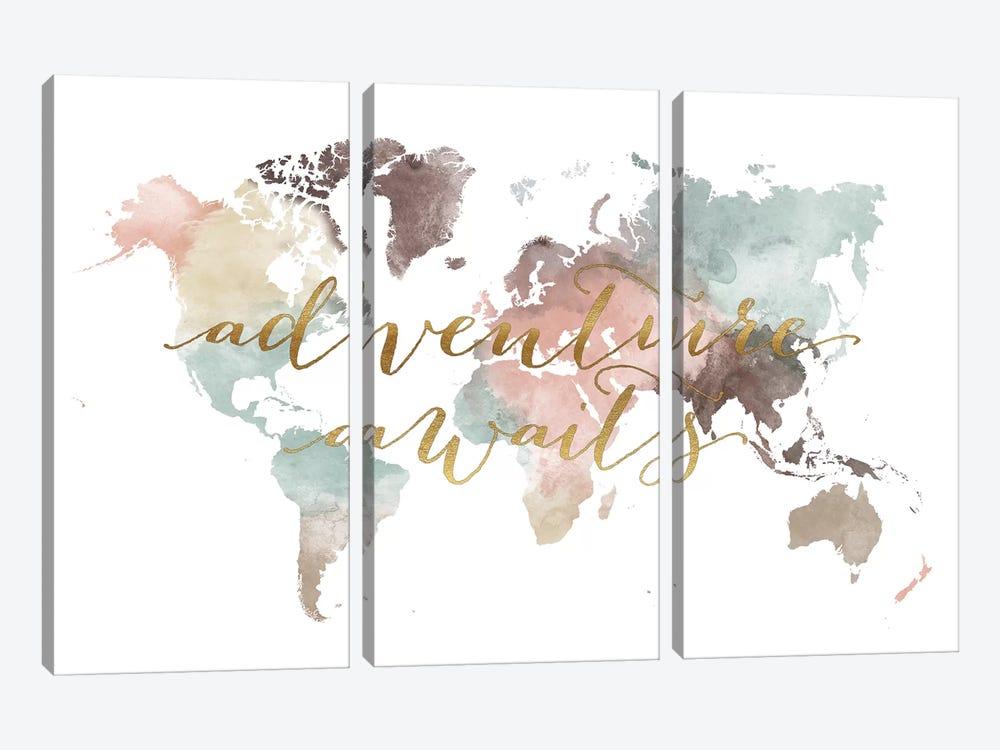 World Map Adventure Awaits VII by ArtPrintsVicky 3-piece Art Print