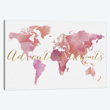 World Map Adventure Awaits VI Canvas Print #APV145} by ArtPrintsVicky Art Print