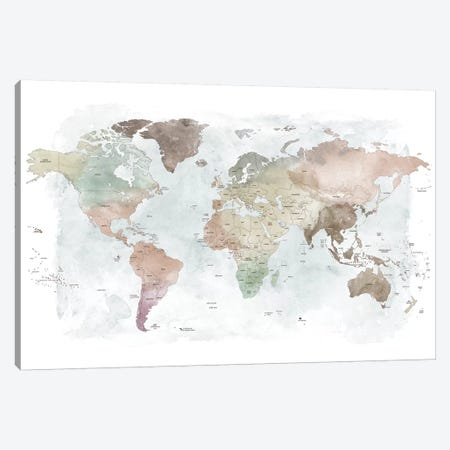 World Map Detailed III Canvas Print #APV146} by ArtPrintsVicky Canvas Art Print