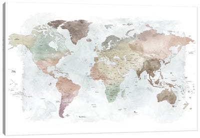 World Map Detailed III Canvas Art Print