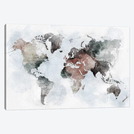 World Map Urban Canvas Print #APV148} by ArtPrintsVicky Canvas Wall Art