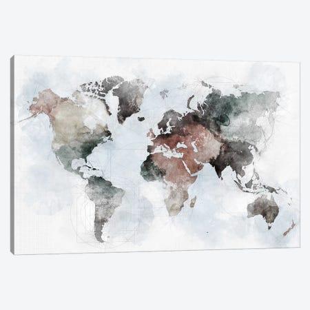 World Map Urban Canvas Print #APV148} by ArtPrintsVicky Canvas Wall Art