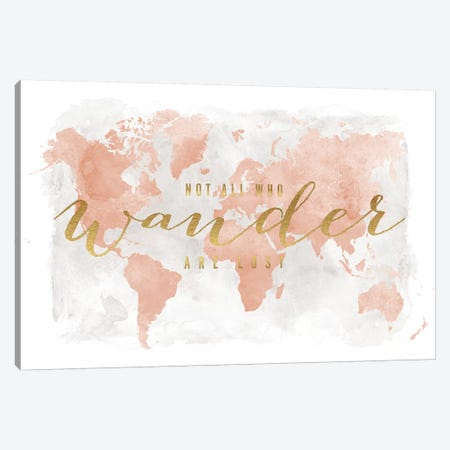 World Map Not All Who Wander II Canvas Print #APV149} by ArtPrintsVicky Canvas Art