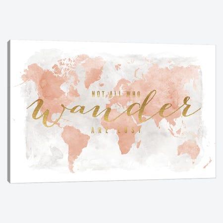World Map Not All Who Wander II Canvas Print #APV149} by ArtPrintsVicky Canvas Art