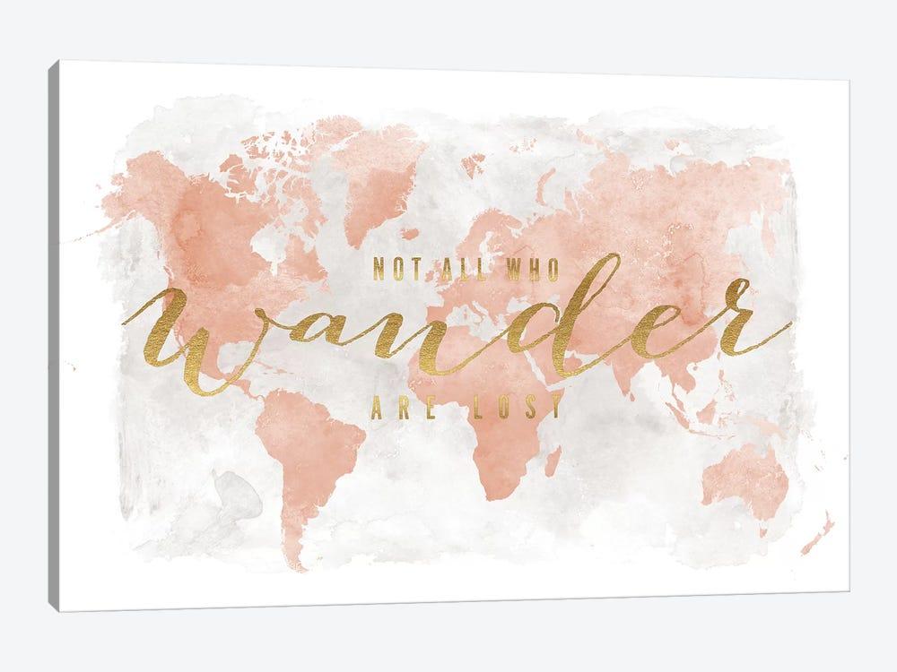 World Map Not All Who Wander II by ArtPrintsVicky 1-piece Canvas Art